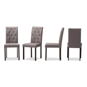 Baxton Studio Gardner Modern and Contemporary Dark Brown Finished Grey Fabric Upholstered Dining Chair Baxton Studio restaurant furniture, hotel furniture, commercial furniture, wholesale dining room furniture, wholesale dining chairs, classic fabric