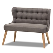 Baxton Studio Melody Mid-Century Modern Grey Fabric and Natural Wood Finishing 2-Seater Settee Bench Baxton Studio restaurant furniture, hotel furniture, commercial furniture, wholesale living room furniture, wholesale loveseats, classic loveseats