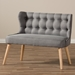 Baxton Studio Melody Mid-Century Modern Grey Fabric and Natural Wood Finishing 2-Seater Settee Bench - IEBBT8026-LS-Grey-XD45