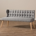 Baxton Studio Melody Mid-Century Modern Grey Fabric and Natural Wood Finishing 3-Seater Settee Bench - IEBBT8026-SF-Grey-XD45