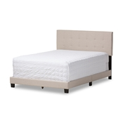Baxton Studio Brookfield Modern and Contemporary Beige Fabric Upholstered Grid-tufting King Size Bed