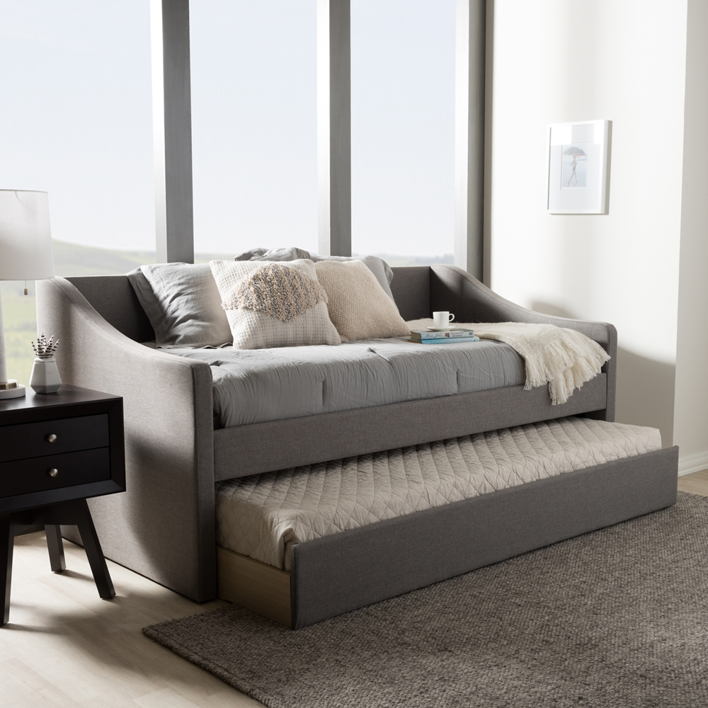 Baxton Studio Barnstorm Modern And Contemporary Grey Fabric Upholstered Daybed With Guest Trundle Bed
