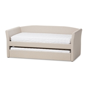 Baxton Studio Camino Modern and Contemporary Beige Fabric Upholstered Daybed with Guest Trundle Bed