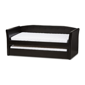 Baxton Studio Camino Modern and Contemporary Black Faux Leather Upholstered Daybed with Guest Trundle Bed