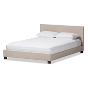 Baxton Studio Elizabeth Modern and Contemporary Beige Fabric Upholstered Panel-Stitched Queen Size Platform Bed