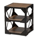 Baxton Studio Hudson Rustic Industrial Style Antique Black Textured Finished Metal Distressed Wood Occasional Side Table - IECA-1120-ET