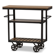 Baxton Studio Kennedy Rustic Industrial Style Antique Black Textured Finished Metal Distressed Wood Mobile Serving Cart Baxton Studio restaurant furniture, hotel furniture, commercial furniture, wholesale dining room furniture, classic kitchen carts