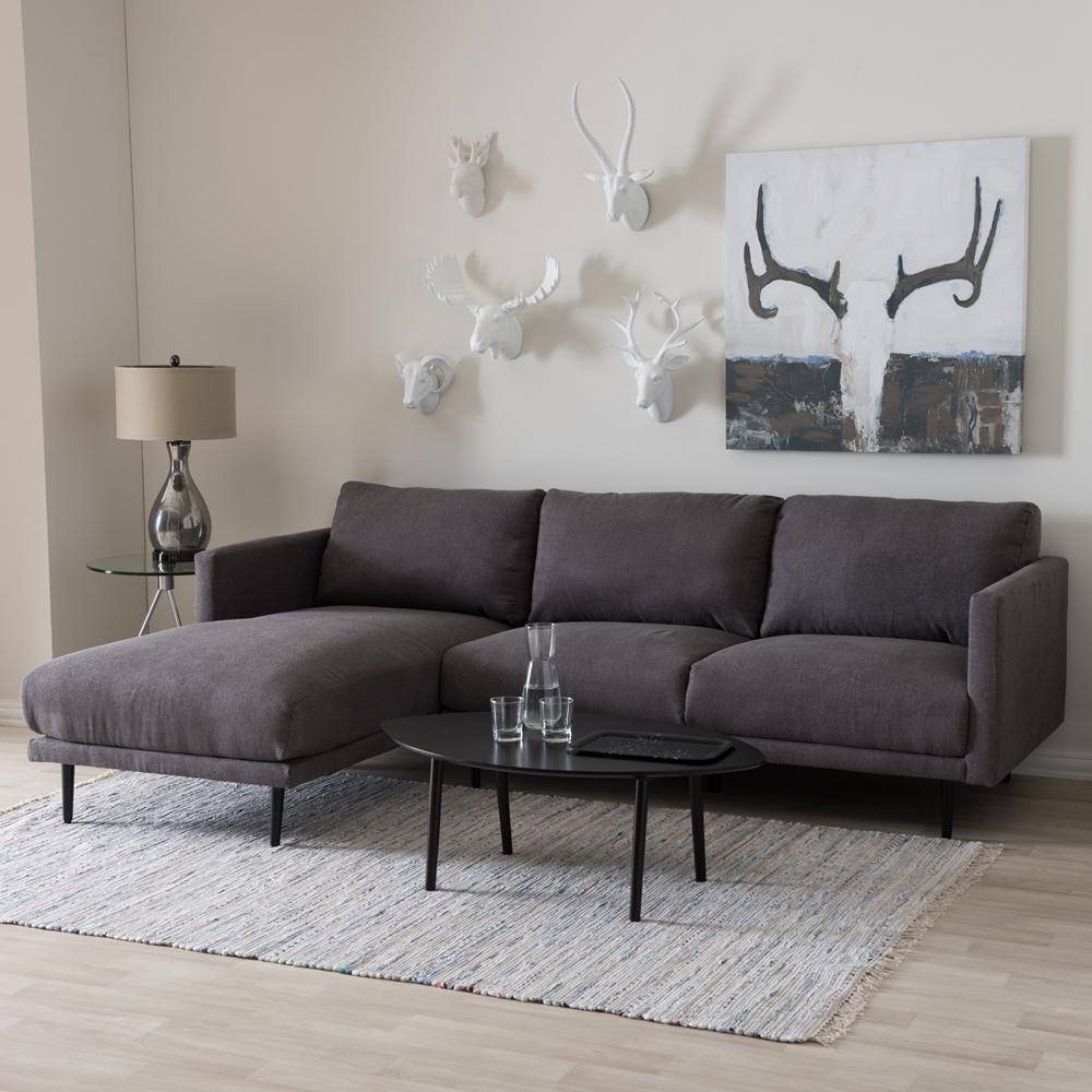 Modern Retro Sectional Sofa Taupe Gray: Baxton Studio Riley Retro Mid-Century Modern Grey Fabric