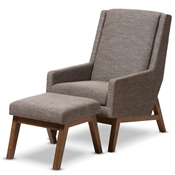 Baxton Studio Aberdeen Mid-Century Modern Walnut Wood Finishing and Gravel Fabric Upholstered Lounge Chair and Ottoman Set Baxton Studio restaurant furniture, hotel furniture, commercial furniture, wholesale living room furniture, wholesale living room chair & ottoman, classic chair & ottoman