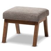 Baxton Studio Aberdeen Mid-Century Modern Walnut Wood Finishing and Gravel Fabric Upholstered Ottoman