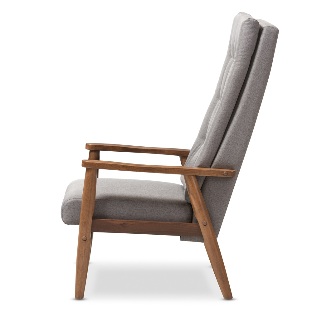 Baxton Studio Roxy Mid Century Modern Walnut Brown Finish Wood And Grey Fabric Upholstered On
