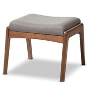 Baxton Studio Roxy Mid-Century Modern Walnut Wood Finishing and Grey Fabric Upholstered Ottoman