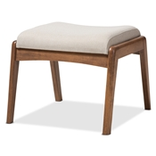 Baxton Studio Roxy Mid-Century Modern Walnut Wood Finishing and Light Beige Fabric Upholstered Ottoman