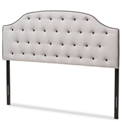 Baxton Studio Windsor Modern and Contemporary Greyish Beige Fabric Upholstered Scalloped Buttoned King Size Headboard Baxton Studio restaurant furniture, hotel furniture, commercial furniture, wholesale bedroom furniture, wholesale headboards, classic king headboards