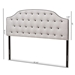 Baxton Studio Windsor Modern and Contemporary Greyish Beige Fabric Upholstered Scalloped Buttoned King Size Headboard - IEBBT6620-Greyish Beige-King HB-H1217-14