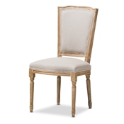 Baxton Studio Cadencia French Vintage Cottage Weathered Oak Finish Wood and Beige Fabric Upholstered Dining Side Chair Baxton Studio restaurant furniture, hotel furniture, commercial furniture, wholesale dining room furniture, wholesale dining room chairs, classic dining chairs