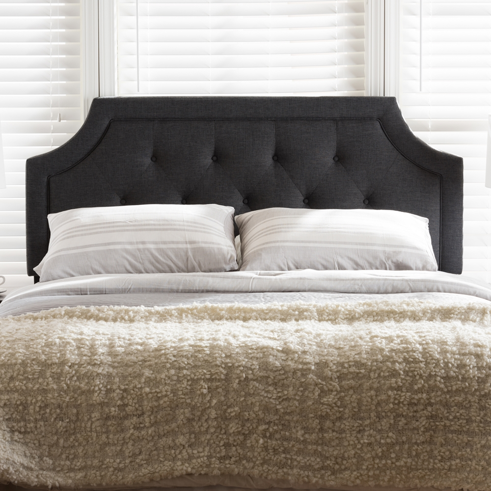 Baxton Studio Mars Modern And Contemporary Dark Grey Fabric King Size Headboard Iebbt6623