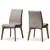 Baxton Studio Kimberly Mid-Century Modern Beige and Brown Fabric Dining Chair (Set of 2) Baxton Studio restaurant furniture, hotel furniture, commercial furniture, wholesale dining room furniture, wholesale dining room chairs, classic dining chairs