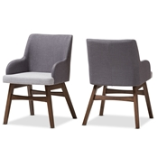 Baxton Studio Monte Mid-Century Modern Two-Tone Grey Fabric Armchair (Set of 2) Baxton Studio restaurant furniture, hotel furniture, commercial furniture, wholesale dining room furniture, wholesale dining room chairs, classic dining chairs