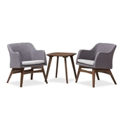 Baxton Studio Vera Mid-Century Modern 3-Piece Lounge Chair and Side Table Set Baxton Studio restaurant furniture, hotel furniture, commercial furniture, wholesale living room furniture, wholesale chair & table set