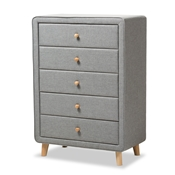 Baxton Studio Jonesy Mid-Century Grey Fabric Upholstered 5-Drawer Chest Baxton Studio restaurant furniture, hotel furniture, commercial furniture, wholesale bedroom furniture, wholesale chest, classic chest