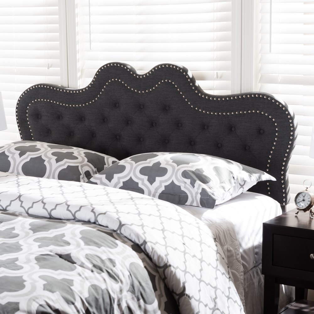 baxton studio ivy modern and contemporary dark grey fabric king size headboard. Black Bedroom Furniture Sets. Home Design Ideas