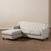 Baxton Studio Arcadia Light Beige Fabric Upholstered Button-Tufted 2-Piece Sectional Sofa - IEBBT8030-Beige-SECTNL-6086-1