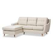 Baxton Studio Mckenzie Mid-Century Light Beige Fabric Button-Tufted 2-Piece Sectional Sofa Baxton Studio restaurant furniture, hotel furniture, commercial furniture, wholesale living room furniture, wholesale sofas & loveseats, classic sectional sofa
