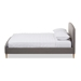Baxton Studio Mia Mid-Century Light Grey Fabric Upholstered King Size Platform Bed - IECF8814-Light Grey-King