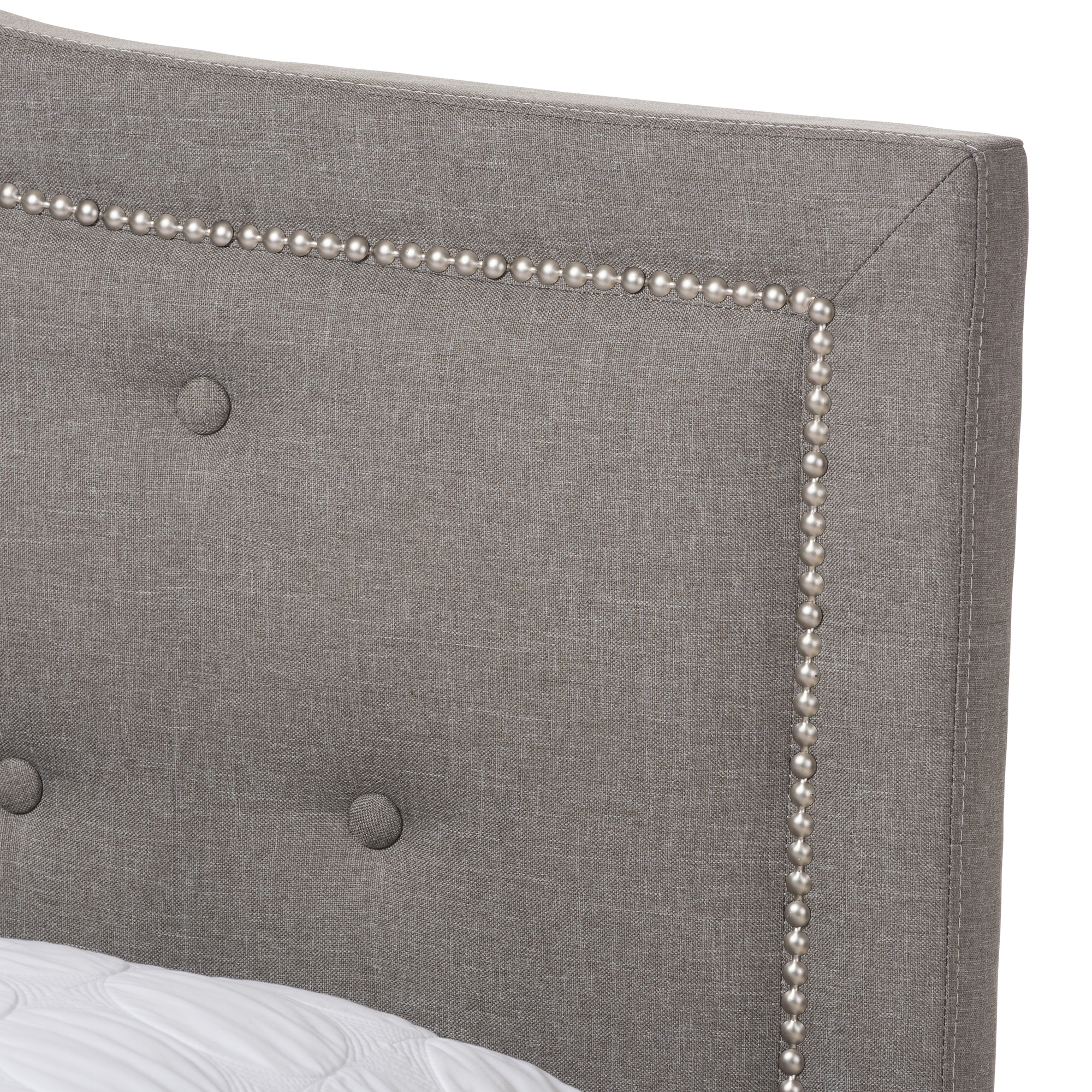 baxton studio emerson modern and contemporary light grey fabric upholstered queen size bed