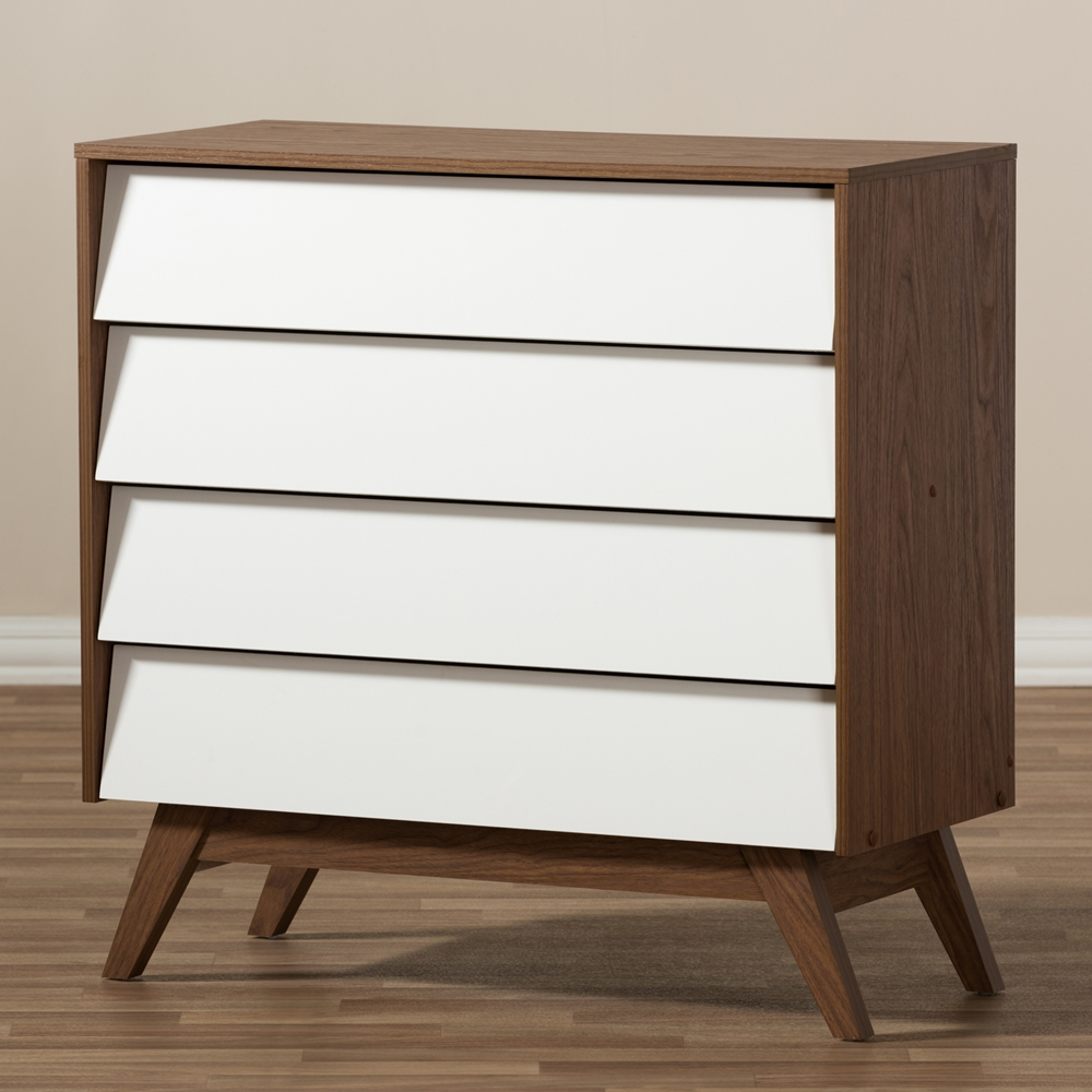 Baxton Studio Hildon Mid Century Modern White And Walnut Wood 4 Drawer Storage Chest