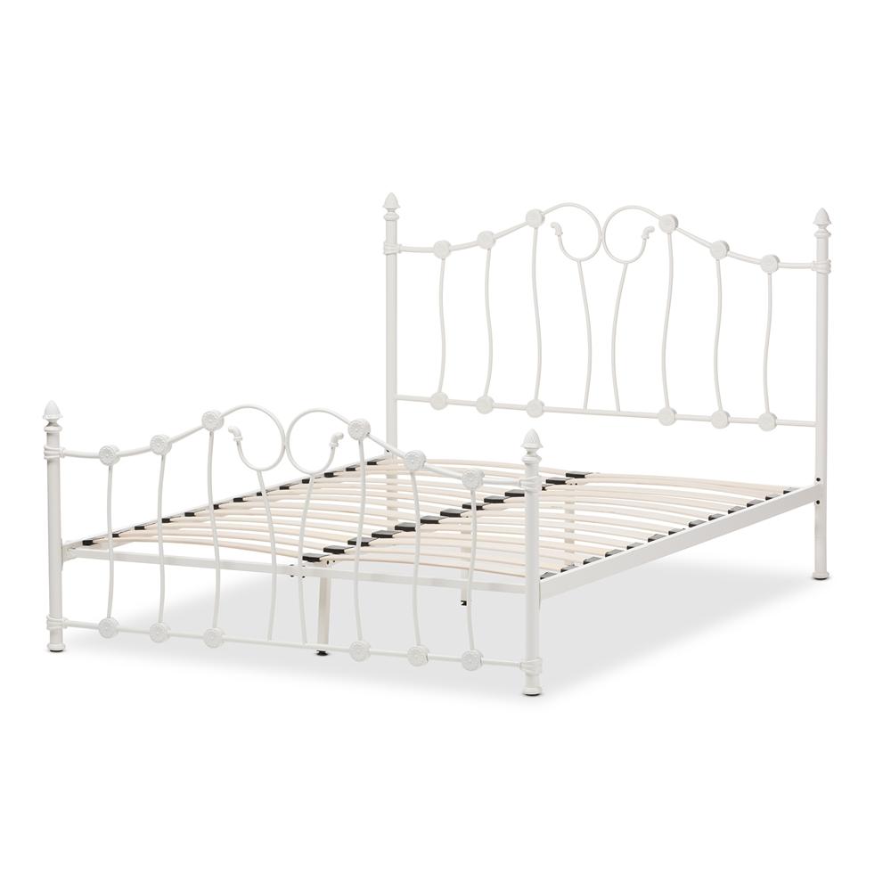 Baxton Studio Darcy Victorian Style Antique White Metal Full Size Platform Bed Iets