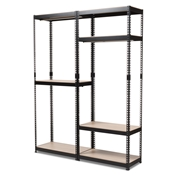 Baxton Studio Gavin Black Metal 7-Shelf Closet Storage Racking Organizer