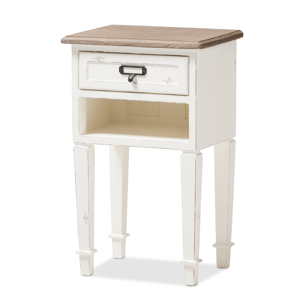 Baxton studio dauphine provincial style weathered oak and for White wood nightstand