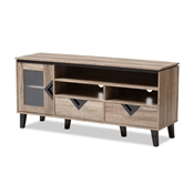 Baxton Studio Cardiff Modern and Contemporary Light Brown Wood 55-Inch TV Stand Baxton Studio restaurant furniture, hotel furniture, commercial furniture, wholesale living room furniture, wholesale tv stands, classic tv stands