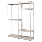 Baxton Studio Gavin White Metal 7-Shelf Closet Storage Racking Organizer