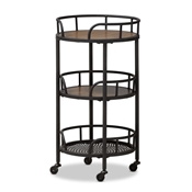 Baxton Studio Bristol Rustic Industrial Style Metal and Wood Mobile Serving Cart Baxton Studio restaurant furniture, hotel furniture, commercial furniture, wholesale kitchen furniture, wholesale kitchen cart, classic serving cart