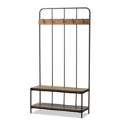Baxton Studio Hull Rustic Industrial Style Antique Black Metal and Wood Entryway Hall Tree Baxton Studio restaurant furniture, hotel furniture, commercial furniture, wholesale entryway furniture, wholesale hanger, classic coat hangar