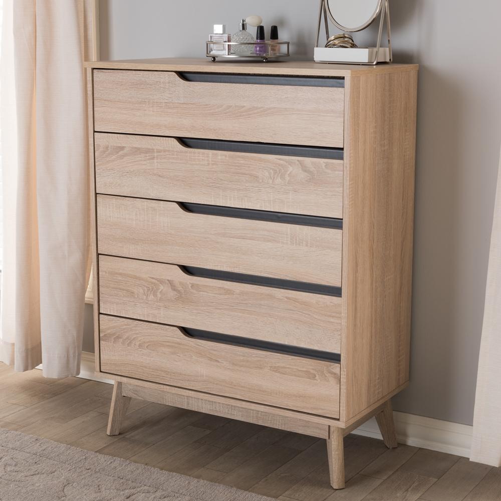 Baxton Studio Fella Mid Century Modern Two Tone Oak And Grey Wood 5