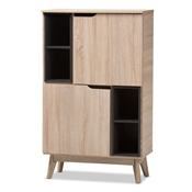 Baxton Studio Fella Mid-Century Modern Two-Tone Oak and Grey Wood Multipurpose Storage Cabinet Baxton Studio restaurant furniture, hotel furniture, commercial furniture, wholesale entryway furniture, wholesale storage, classic storage cabinet