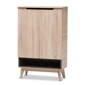 Baxton Studio Fella Mid-Century Modern Two-Tone Oak and Grey Wood Shoe Cabinet Baxton Studio restaurant furniture, hotel furniture, commercial furniture, wholesale entryway furniture, wholesale storage, classic shoe cabinet