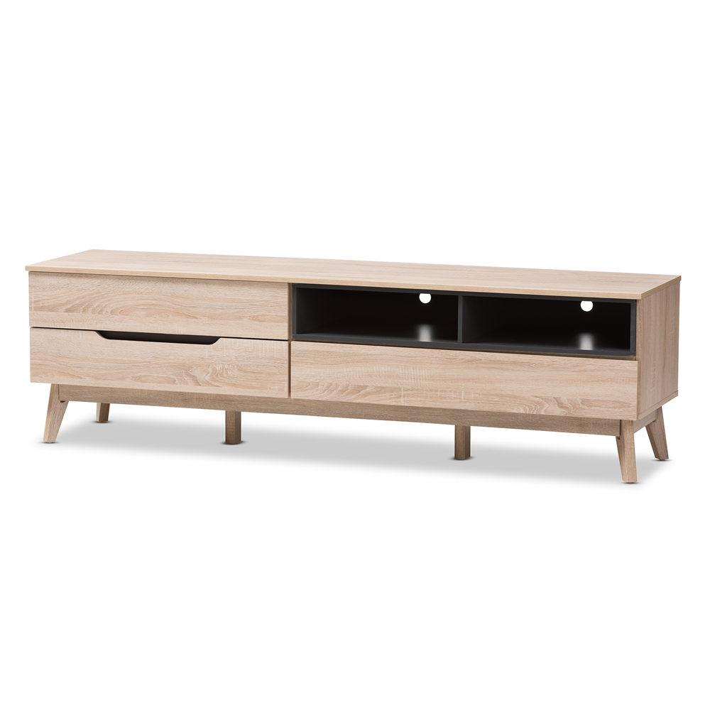 Baxton Studio Fella Mid Century Modern Two Tone Oak And Grey Wood Tv Stand