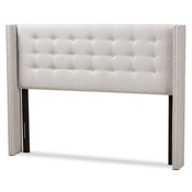 Baxton Studio Ginaro Modern And Contemporary Greyish Beige Fabric Button-Tufted Nail head King Size Winged Headboard Baxton Studio restaurant furniture, hotel furniture, commercial furniture, wholesale bedroom furniture, wholesale headboards, classic king headboards