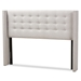 Baxton Studio Ginaro Modern And Contemporary Greyish Beige Fabric Button-Tufted Nail head King Size Winged Headboard - IEBBT6627-Greyish Beige-King HB