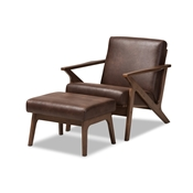 Baxton Studio Bianca Mid-Century Modern Walnut Wood Dark Brown Distressed Faux Leather Lounge Chair And Ottoman Set Baxton Studio restaurant furniture, hotel furniture, commercial furniture, wholesale dining room furniture, wholesale chairs classic dining chair