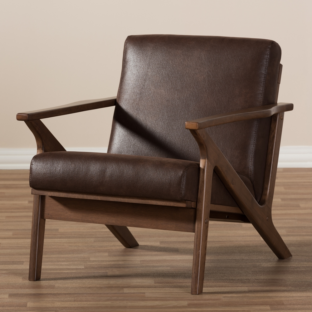 Baxton Studio Bianca Mid Century Modern Walnut Wood Dark Brown Distressed Faux Leather Lounge Chair
