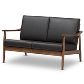 Baxton Studio Venza Mid-Century Modern Walnut Wood Black Faux Leather 2-Seater Loveseat Baxton Studio restaurant furniture, hotel furniture, commercial furniture, wholesale dining room furniture, wholesale chairs classic dining chair
