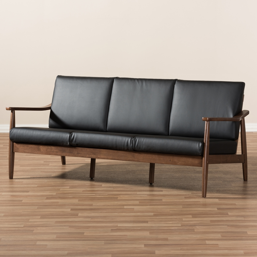 Mid Century Modern Sofas: Baxton Studio Venza Mid-Century Modern Walnut Wood Black