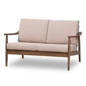 Baxton Studio Venza Mid-Century Modern Walnut Wood Light Brown Fabric Upholstered 2-Seater Loveseat Baxton Studio restaurant furniture, hotel furniture, commercial furniture, wholesale dining room furniture, wholesale chairs classic dining chair