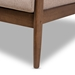 Baxton Studio Venza Mid-Century Modern Walnut Wood Light Brown Fabric Upholstered 3-Seater Sofa - IEVenza-Brown/Walnut Brown-SF